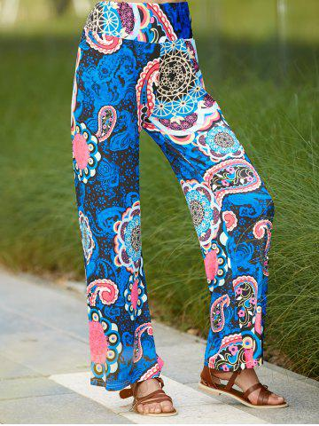 Shop Ethnic Paisley Wide Leg Exumas Pants For Women DEEP BLUE L