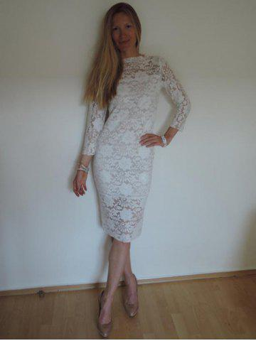New Women's Lace Hollow Out 3/4 Sleeve Midi Dress