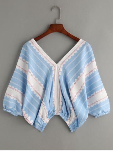 Trendy Stylish Printing V-Neck Kimono Sleeve Top For Women