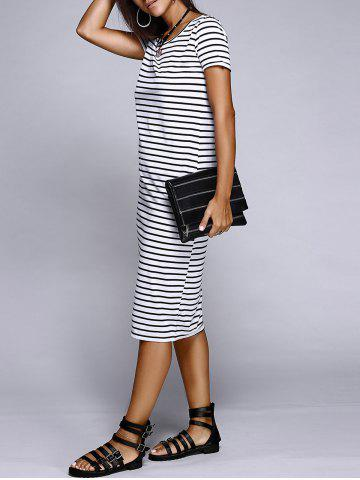 Best Casual Scoop Neck Striped Slit Midi Dress For Women