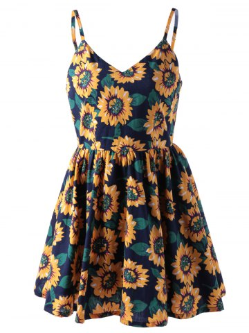 Sale Fashionable Spaghetti Straps V-Neck Print Dress For Women