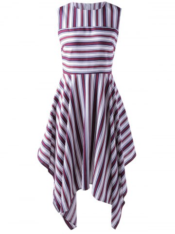 Hot Fashionable Stripe Splicing Dress For Women RED WITH WHITE L