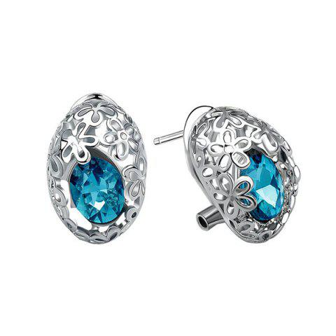 Discount Pair of Delicate Cut Out Flower and Oval Faux Gem Earrings For Women SILVER