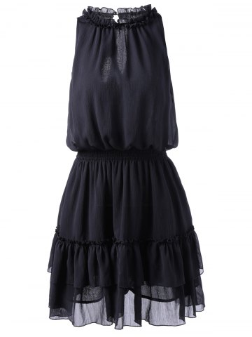 Women 's  Trendy Cut Out Dress Imprimer Noir L