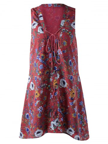 Shops Fashionable Printing Bind Sleeveless Dress For Women DARK RED L