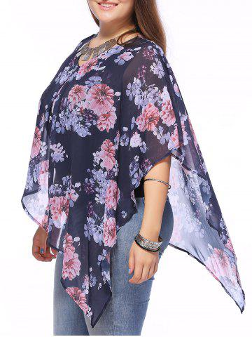 Shops Stylish V-Neck Batwing Sleeve Floral Printed Asymmetric Blouse For Women