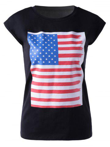 Casual Round Neck Colorful Print Sleeveless T-Shirt For Women - BLACK XL