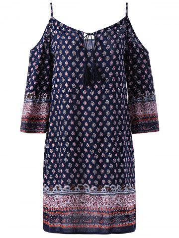 Chic Fashionable Spaghetti Strap 3/4 Sleeve Straight Print Dress