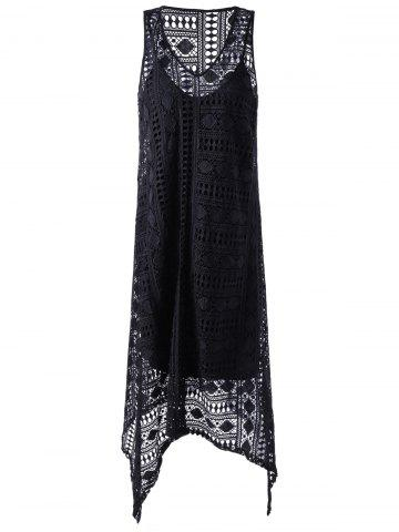 Affordable Sleeveless Lace Openwork Asymmetrical Dress BLACK M