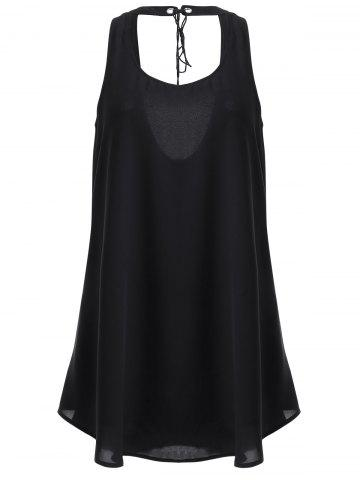 New Fashionable U-Neck Back Out Frenum Drees For Woman - L BLACK Mobile
