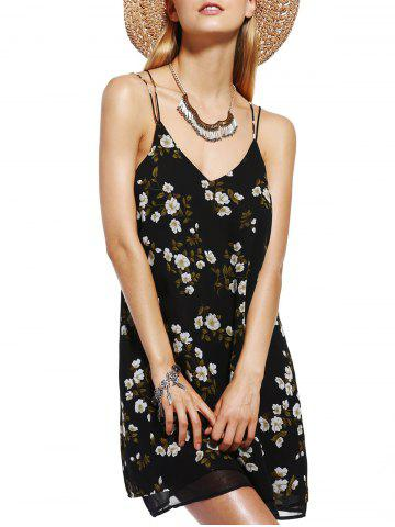 Shop Charming V-Neck Spaghetti Strap Flower Print Dress For Women
