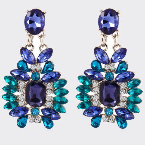 Affordable Pair of Alloy Faux Crystal Geometric Earrings
