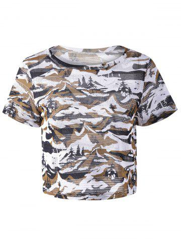 New Round Neck Short Sleeve Digital Camouflage T-shirt COLORMIX L
