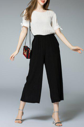 Cheap Elastic Waist Color Block Jumpsuit