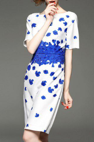 Outfit Boat Neck Floral Print Dress
