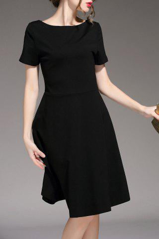 Cheap Pure Color Flare Dress
