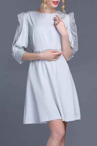 Latest Solid Color Puff Sleeve Dress