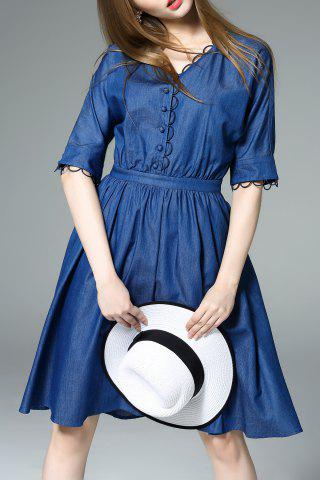 Latest Single Breasted Hollow Out Denim Dress