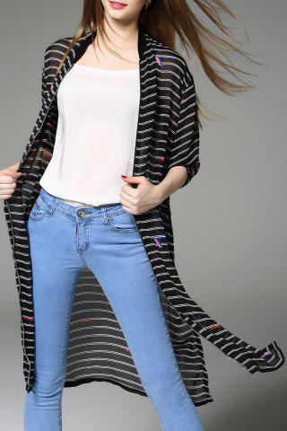 Store Zipper Fly Striped Cardigan
