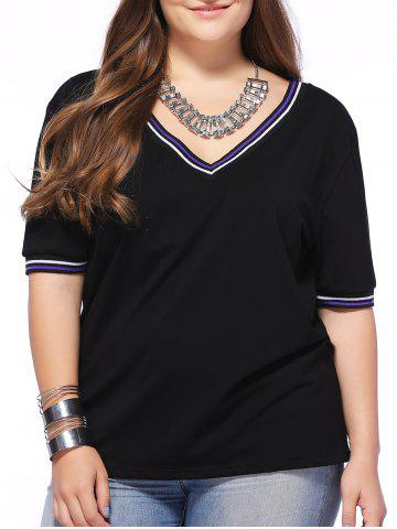 Discount Fashionable Plus Size Round Collar Short Sleeve Contracted T-shirt