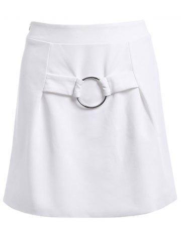 Discount Fashionable Ornaments High Waist Skirt For Women WHITE XL