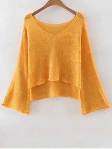 ONE SIZE(FIT SIZE XS TO M) YELLOW V Neck Flare Sleeve Pure Color Jumper