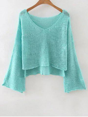 Best Stylish V Neck Flare Sleeve Pure Color Women's Jumper