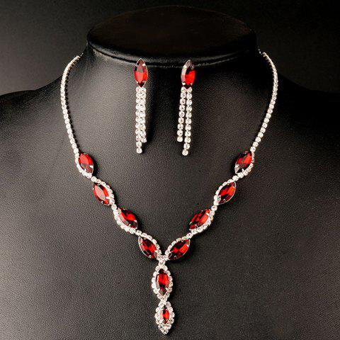 Outfit A Suit of Rhinestoned Faux Ruby Wedding Jewelry Set - RED  Mobile