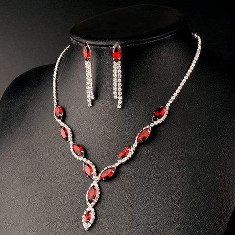 New A Suit of Rhinestoned Faux Ruby Wedding Jewelry Set - RED  Mobile