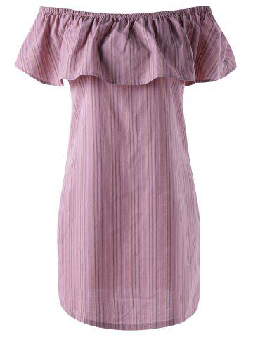 Sale Off The Shoulder Flounce Stripe Summer Dress - M STRIPE Mobile