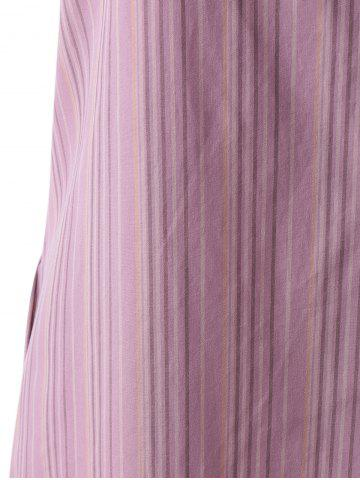 Latest Off The Shoulder Flounce Stripe Summer Dress - M STRIPE Mobile