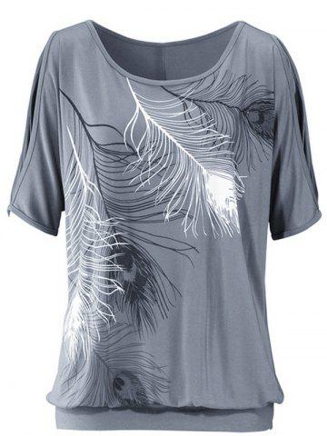 Trendy Casuall Short Sleeve Feather Graphic Design T-Shirt GRAY XL