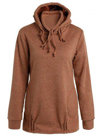 Discount Stylish Long Sleeve Solid Color Loose Women's Pullover Hoodie BROWN XL