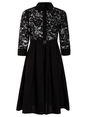 Outfit Lace Insert A-Line Midi Shirt Dress BLACK S