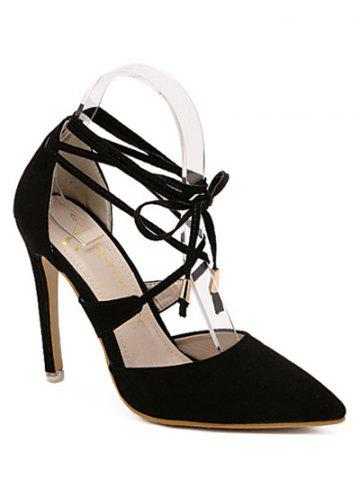Stylish Pointed Toe and Black Design Sandals For Women - Black - 38