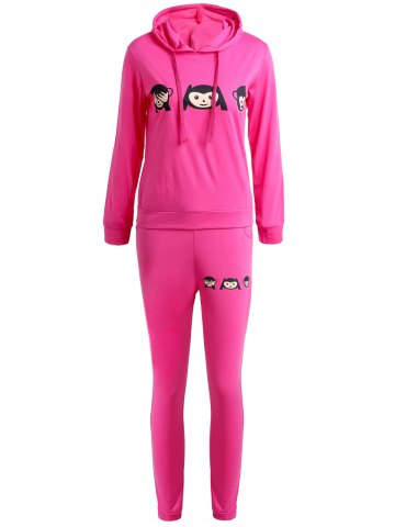 New Cute Hooded Emoji Printed Pullover Hoodie and Elastic Waist Pants Twinset For Women - S ROSE Mobile