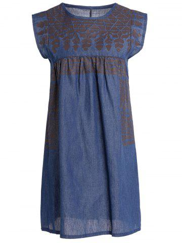 Discount Stylish Round Collar Sleeveless Chambray Women's Dress