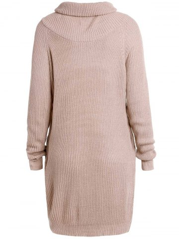Unique Stylish Turtle Collar Long Sleeves Solid Color Women's Jumper - XL LIGHT APRICOT Mobile