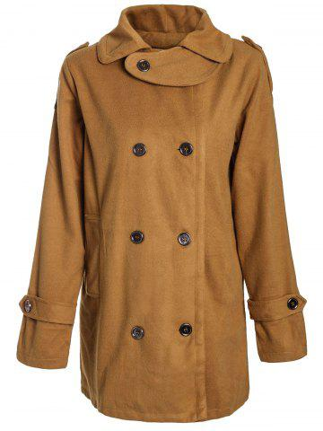 Store Stylish Turn-Down Neck Long Sleeve Double-Breasted Pocket Design Women's Coat EARTHY M