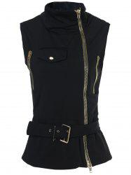 Stylish Stand-Up Collar Sleeveless Zipper Embellished Solid Color Women's Waistcoat
