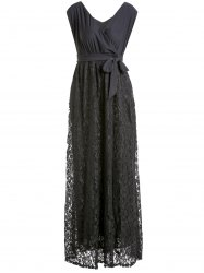 Plus Size Long Lace Surplice Formal Dress