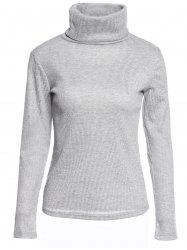 Casual Turtleneck Long Sleeve Gray Pullover Knitwear For Women - GRAY S