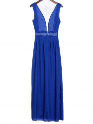 Sexy Plunging Neck Sleeveless See-Through Spliced Women's Prom Dress -