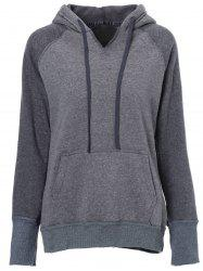 Casual Style Hooded Long Sleeve Spliced Front Pocket Design Women's Pullover Hoodie -