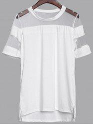 Chic Scoop Neck Short Sleeve See-Through Women's Blouse - WHITE M