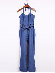Halter Sleeveless Denim Jumpsuit