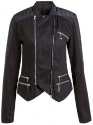 Stylish Stand-Up Collar Long Sleeve Asymmetrical Women's Motorcycle Jacket - BLACK S
