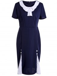 Vintage Scoop Neck Short Sleeve Bowknot Embellished Slimming Women's Dress -