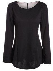 Stylish Scoop Neck Long Sleeve Color Block Ruffled Blouse For Women -