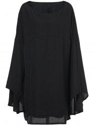 Sweet Black Boat Neck Long Bell Sleeve Plus Size Dress For Women
